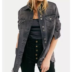 Distressed jeans shirt jacket